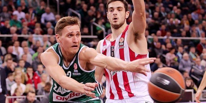 «Жальгирис» победил «Олимпиакос» впервом матче серии ¼ финала баскетбольной Евролиги